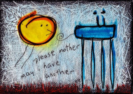 please mother may i have another e9Art ACEO Outsider Art Brut Painting Abstract  #OutsiderArt