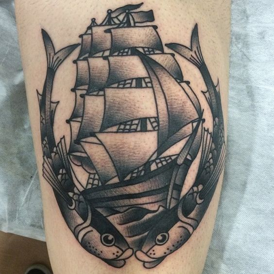 ⚫️ #tattoo #traditional #fish #blacktattoos #blackworkerssubmission
