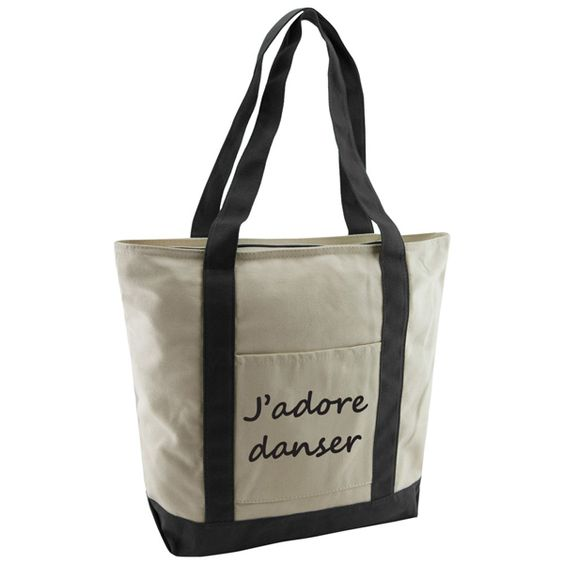 J'adore Danser Cotton Canvas Tote Bag. Sling this cute dance bag over your shoulder and head to the dance studio in style.