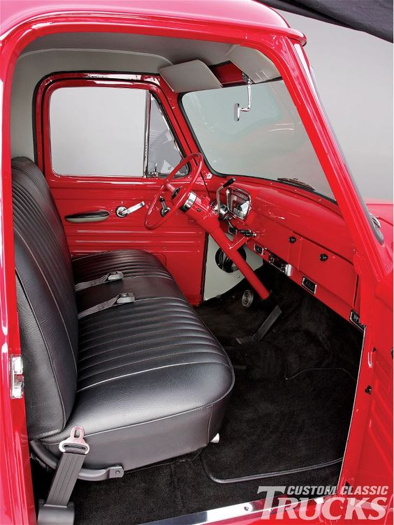 1955 ford f100 pickup truck aftermarket leather interior - Custom leather interior for trucks ...
