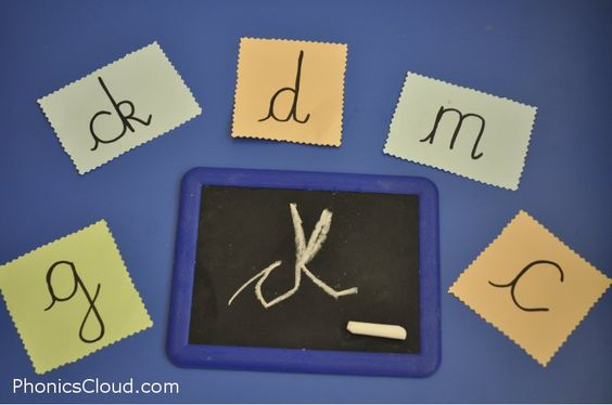 Great for mark making, letter formation and emergent writing... I like to leave different writing equipment out with letters around for children to have a go at writing if they wish. Today was chalk boards and it was a very popular activity.
