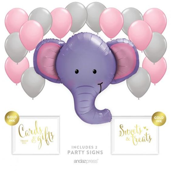 Balloon Party Decor Kit With Signs, Elephant Jungle Baby Shower