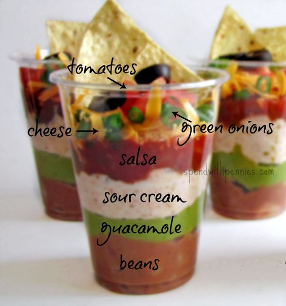 Individual 7 Layer Dip Cups Recipe! -- You could use fat free shredded cheese, fat free sour cream, and fat free beans.  Not much you can do about the guacamole.  Oh and be sure to bake your chips.: