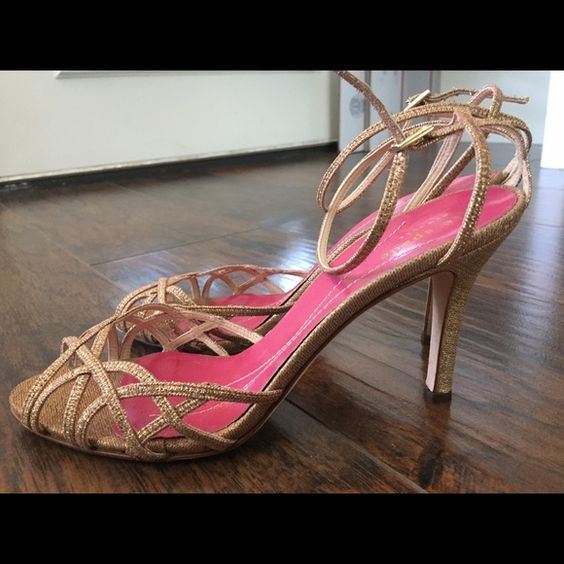 Kate Spade gold heels Like new condition.Comes with dust bag and original box kate spade Shoes Heels