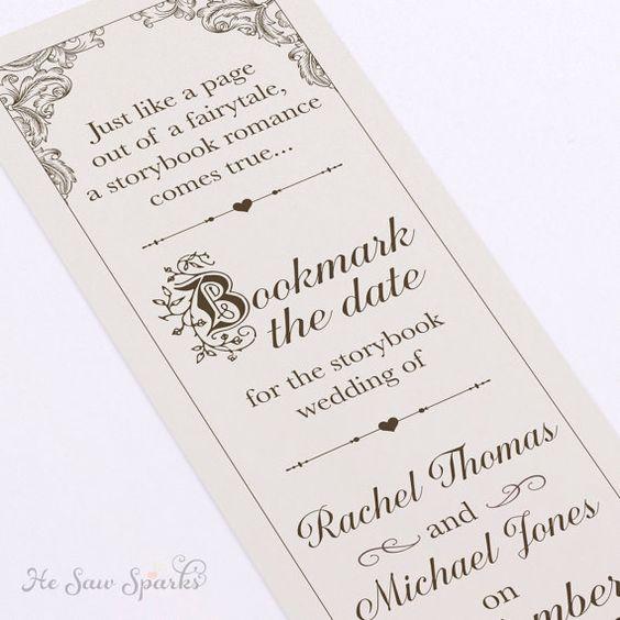 Fairytale Bookmark Save The date - DIY - Printable | Wedding ...