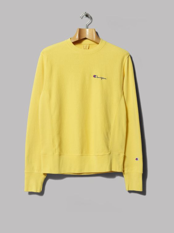 Champion Reverse Weave Crewneck Sweatshirt (Yellow) | Dress ...