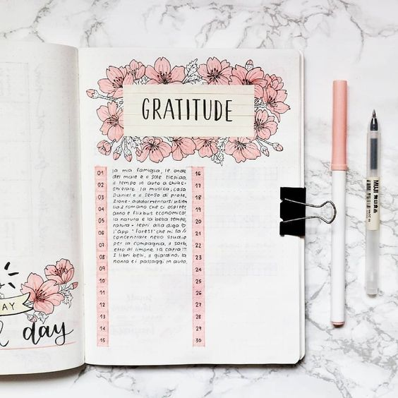 A gratitude log for your daily gratitude practice 9 self-care bujo pages to add to your journal now - Ourmindfullife.com