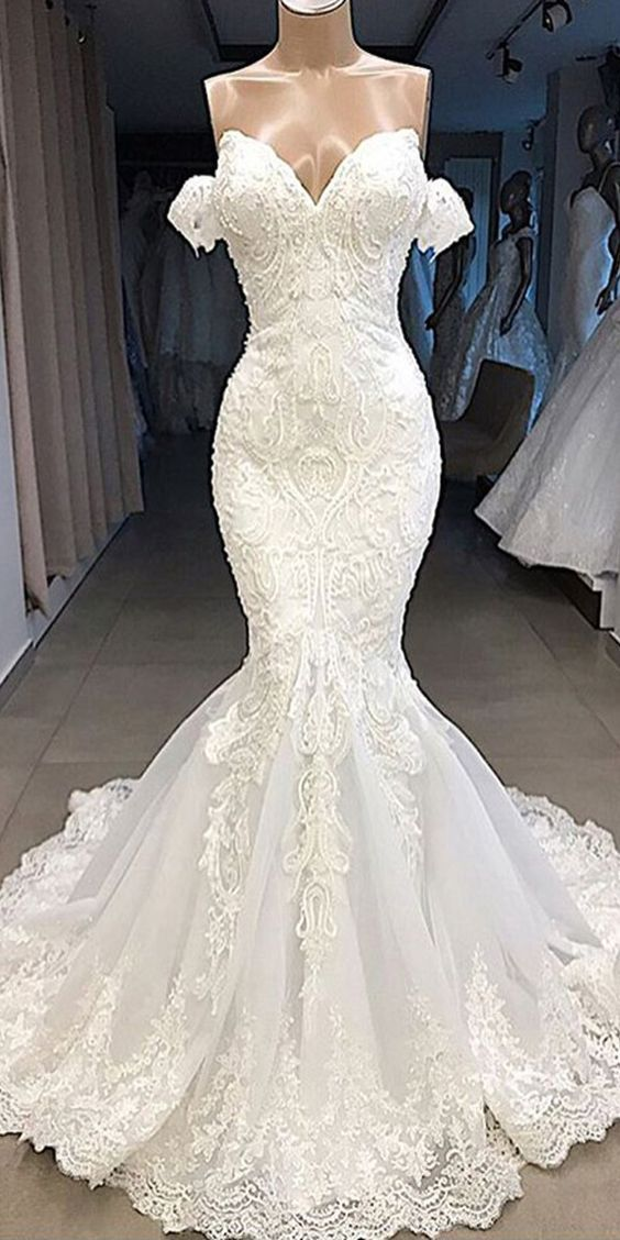 Gorgeous Tulle Off The Shoulder Neckline Mermaid Wedding Dresses With Beaded Lace Appliques Wedding Dresses Online Wedding Dress Mermaid Wedding Dress