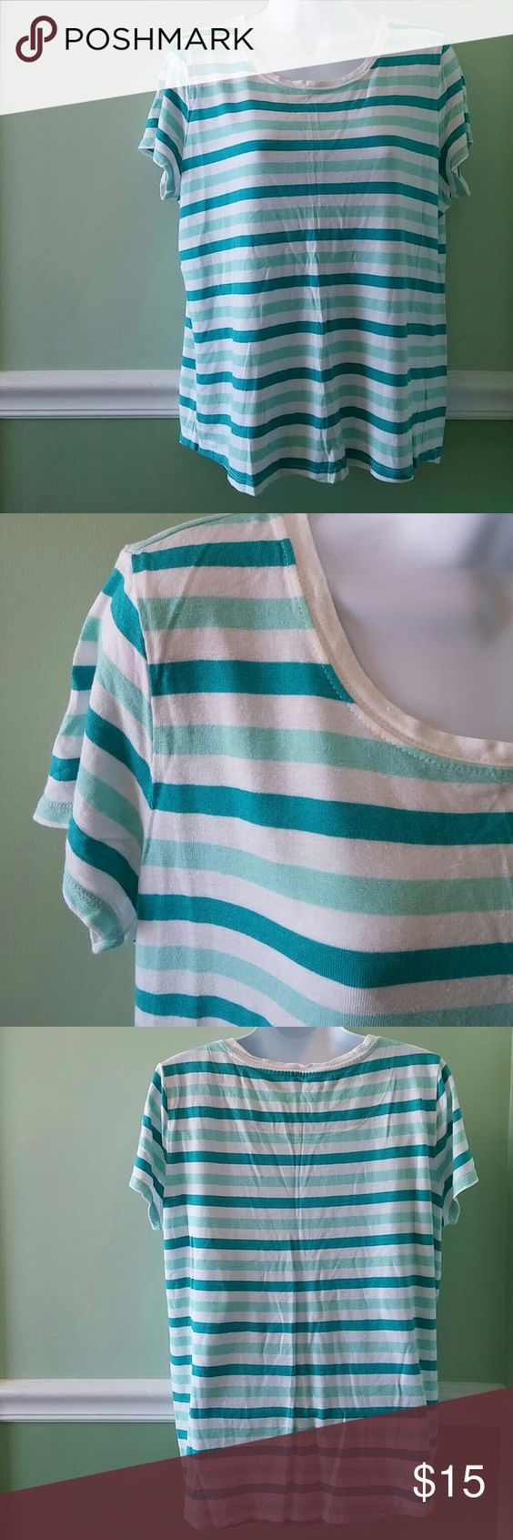 Talbots Striped T-Shirt Like new, hardly worn. Rayon and Linen. Talbots Tops Tees - Short Sleeve