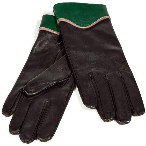 JIL SANDER NAVY Black/Green Lamb Leather Gloves ($320) ❤ liked on Polyvore