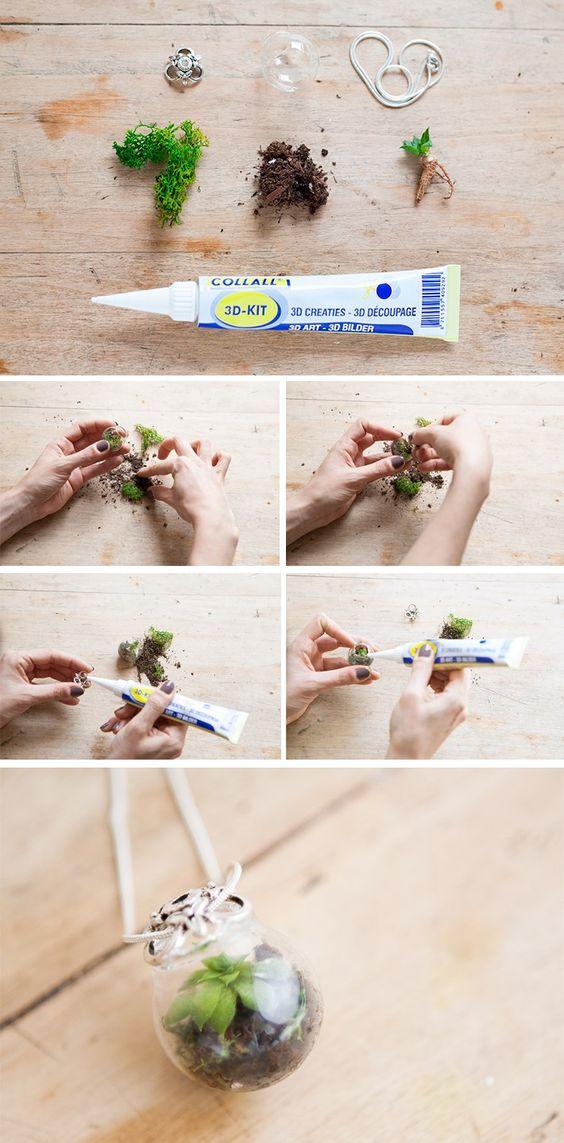 DIY - réaliser un pendentif avec une petite plante à l'intérieur