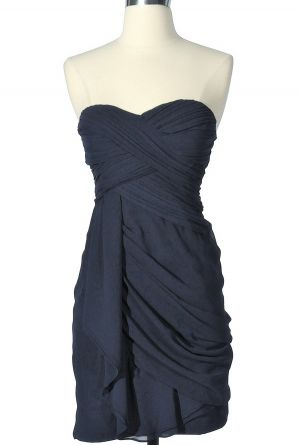 I wish I had somewhere to wear this! $52.00 Dreaming of You Chiffon Drape Party Dress in Navy by Minuet
