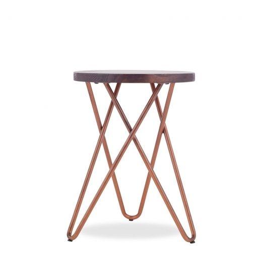 Hairpin Metal Low Stool Solid Dark Wood Seat Copper 46cm In 2020 Copper Furniture Low Stool Natural Wood Furniture