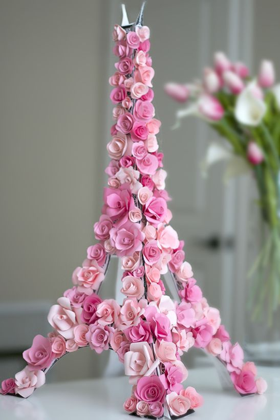 Spring Time in Paris - Paper flower covered 3D Eiffel Tower: