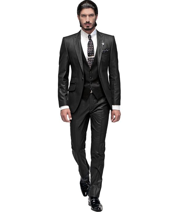 "Black ""New Performance"" suit, combined with black satin waistcoat"
