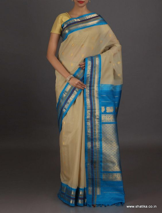 Adwika grey and #blue mesmerizing #GadwalSilkCotton #Saree
