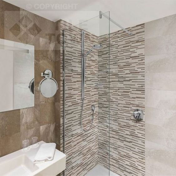 Milford Beige-Cuero Bathroom Wall Tile The Milford series will add a touch of class and character to your bathroom or any room you wish. This large format (25 x 70 cm) tile range has a concrete/cement contemporary look. The cement effect design is random, and varies from tile to tile - giving you a lifelike, natural variation.