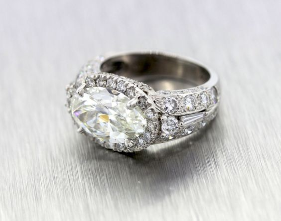 6.71ct Vintage Oval Shaped Diamond Engagement Ring 14k White Gold by shopccj on Etsy https://www.etsy.com/listing/203196061/671ct-vintage-oval-shaped-diamond