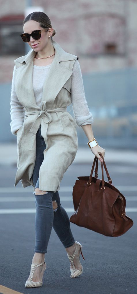 Sleeveless Trench Outfit Idea by Brooklyn Blonde