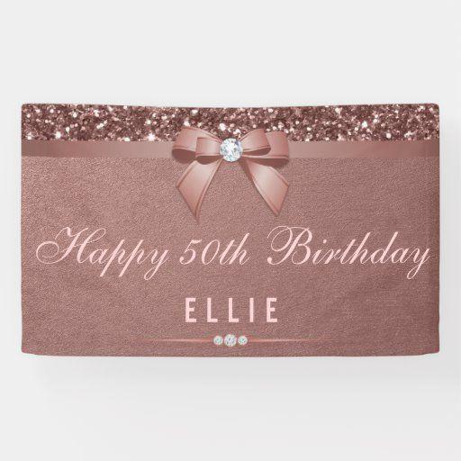 Any Age Birthday Rose Gold Diamond Bow Glitter Banner Zazzle Com In 2020 Birthday Roses Glitter Banner Rose Gold Diamonds