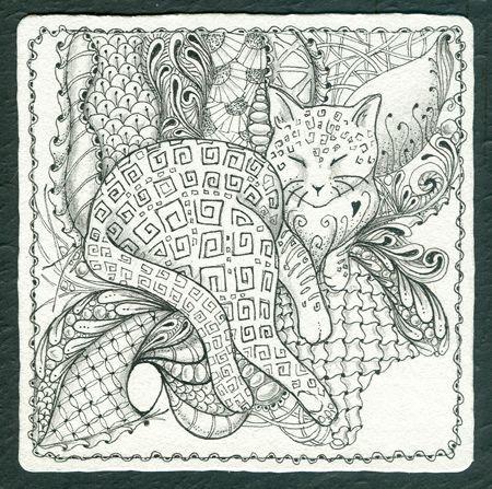 zentangle cat | ... Gallery: Zentangles » Zentangle Tiles » Where Sleeping Cats Lie