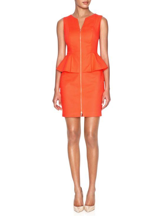 Zipper Front Peplum Dress   Womens Dresses   THE LIMITED