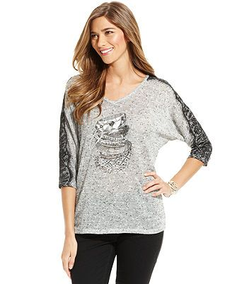 Style&co. Top, Dolman-Sleeve Flecked Lace-Trim Printed