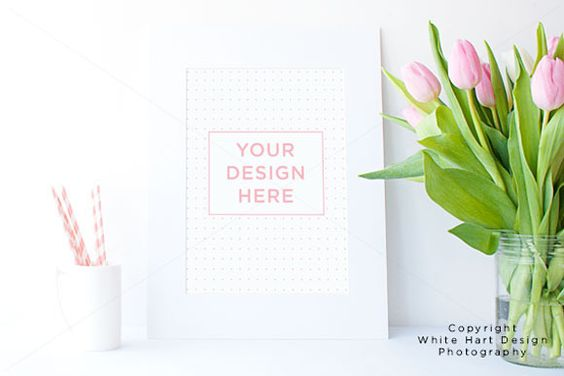Pink tulips frame mock up | Studios, Creative and Tulip