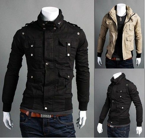 New Men's Fashion Casual Slim Fit Coats Jackets Black Beige US XS ...