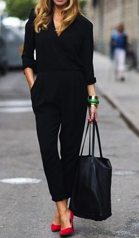 Black overall, red heels: