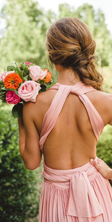 Pink backless bridesmaid dress