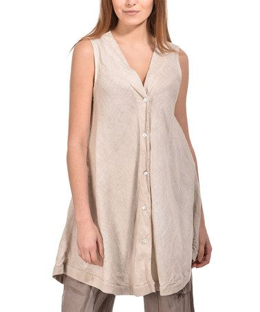 Look what I found on #zulily! Beige Crinkled Sleeveless Linen Button-Up Tunic - Plus #zulilyfinds