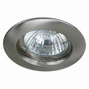 Spot Encastrable Fixe Nickel Satiné pour ampoule GU10 Halogène / LED - Max 50W - Fourni avec ampoule Halogène et douille