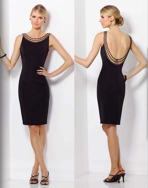 Vestido corto de color negro con sexy escote en la espalda, moda 2016