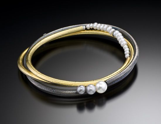 Multi Twig Bangle: Christine MacKellar: Gold, Silver, & Pearl Bracelet | Artful Home