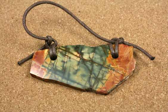Red Creek Jasper Tablet Pendant - Red Yellow and Green Rough Edge Double Drilled Slab by ABOSBeads on Etsy