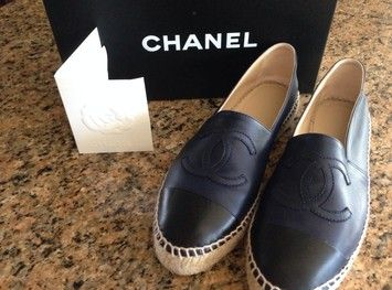 Chanel leather sneakers flat shoes black