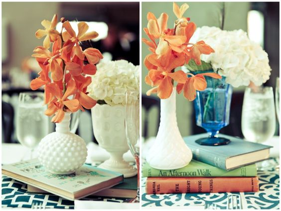 books + flowers as centerpieces