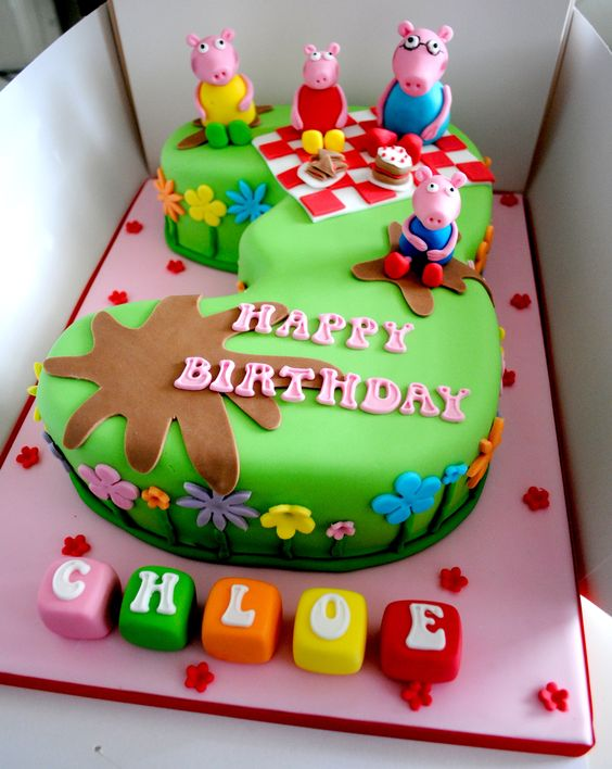 Number 3 peppa pig birthday cake