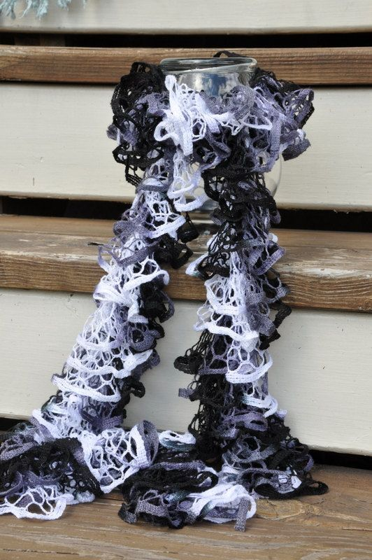 Ruffle Fashion Scarf black white and grey by AStitchNiche on Etsy, $25.00