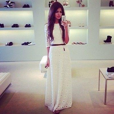 Elegant Maxi Weiß Spitze Damen Brautjungfer Schlank Frauen Reizvoll Kleid in Kleidung & Accessoires, Damenmode, Kleider   eBay