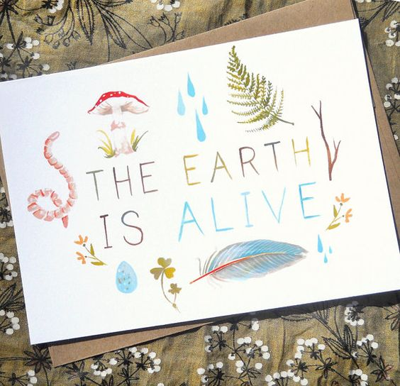 5x7 The Earth is Alive Greeting Card par thewheatfield sur Etsy