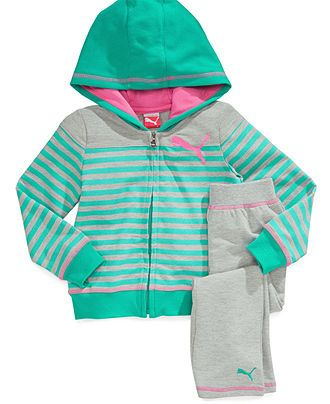 Puma Baby Set, Baby Girls 2-Piece Striped Jacket and Yoga Pants - Kids - Macy's