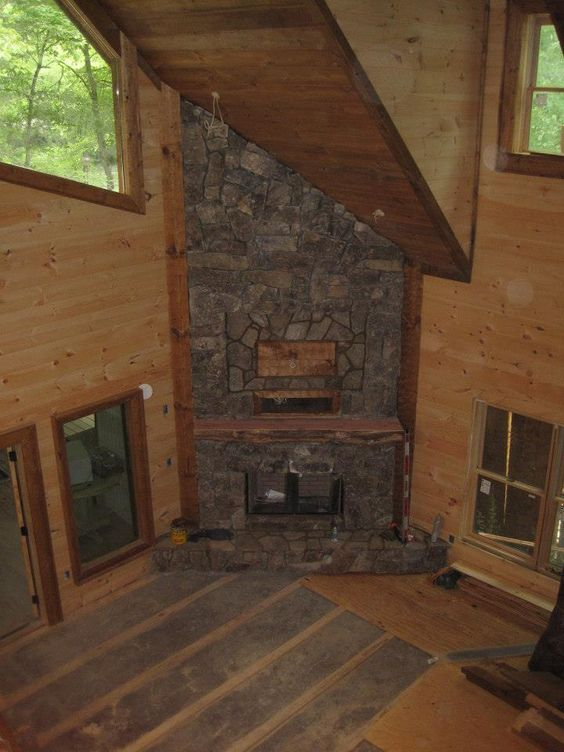 New corner fireplace rustic large stack stone future for Large stone fireplace