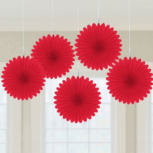 Abanicos de papel rojo para decorar fiestas alegres de - Abanicos para decorar ...