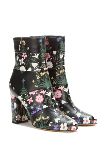 Floral ankle boots  [ #Valentino #ankleboots #shoes ]: