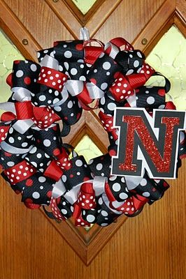 Husker Ribbon Wreath!!! Love this!!