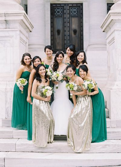 Green and gold: http://www.stylemepretty.com/washington-dc-weddings/2015/05/16/gold-green-washington-dc-wedding/ | Photography: Adam Barnes - http://adambarnes.com/: