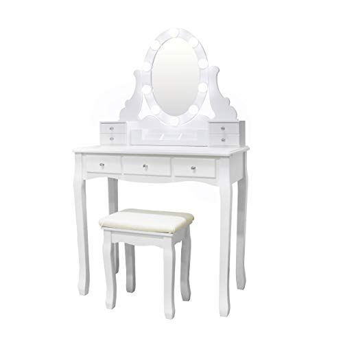 Vanity Set Oval Mirror Surrounds 10 Small Light Bulb And Cushioned Stool Led Bulb And Usb Plug With Surprise G Oval Mirror Vanity Set 7 Drawer Dressing Table
