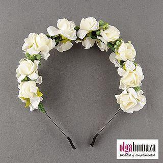 A.08 Tocado Diadema Corona Tiara de Flores Blancas